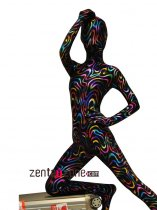 Lycra Full Bodysuit Zentai With Metallic Pattern