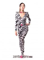 Lycra Spandex Fashion Zebra Catsuit