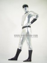 Silver And Black Shiny Metallic Bodysuit Zentai