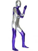 Silver And Purple Spandex Shiny Metallic Zentai Suit