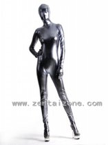 Gray Silver Shiny Metallic Full Bodysuit Zentai