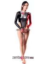 Tricolor Shiny Metallic Flag Pattern Leotard