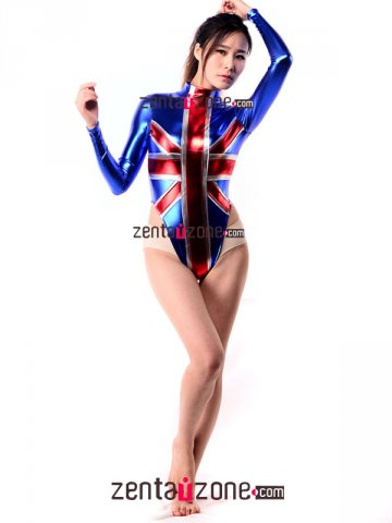 b1827a927094 England Flag Pattern Shiny Metallic Leotard  30335  -  49.00   Buy ...