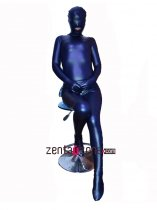 2014 Open Mouth Dark Blue Pu Metallic Full Body Suit