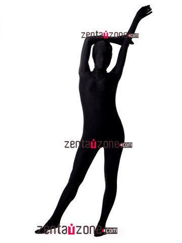 Black Unicolor Spandex Full Body Zentai Suit