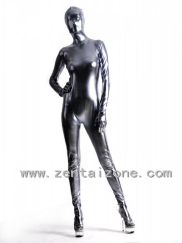 Lycra spandex Zentai Black metallic long gloves S-XXL