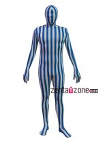 Blue And White Spandex Full Body Camouflage Suit