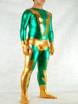 Green And Golden Shiny Unisex Zentai Catsuit