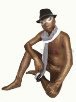 Coffee Full Body Zentai Suit With Silver Eye Outline