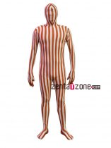 Brown And White Spandex Camouflage Zentai Bodysuit